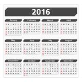 2016 Calendar. On white background Stock Image