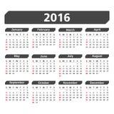 2016 Calendar. On white background Royalty Free Stock Photos