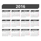 2016 Calendar. On white background Stock Photos