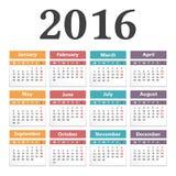 2016 Calendar. On white background Stock Photography