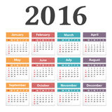 2016 Calendar. On white background Stock Photography