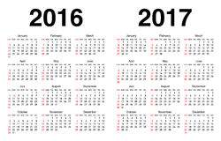Calendar For 2016 And 2017 Stock Photos