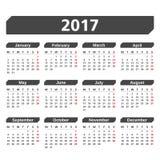 2017 Calendar. On white background Stock Photos