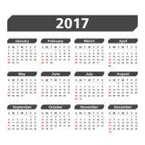 2017 Calendar. On white background Stock Photo