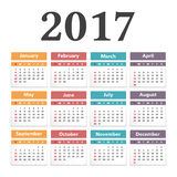 2017 Calendar. On white background Royalty Free Stock Images