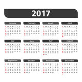 2017 Calendar. On white background Stock Images