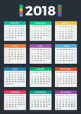 Calendar for 2018. On white background royalty free illustration
