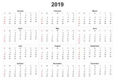 2019 calendar with white background. A 2019 calendar with white background vector illustration