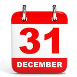 Calendar on white background. 31 December. 3D illustration Royalty Free Stock Images