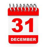 Calendar on white background. 31 December. Stock Photo