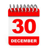 Calendar on white background. 30 December. Royalty Free Stock Photos