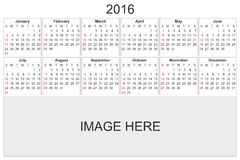 Calendar for 2016 on White Background Royalty Free Stock Photos