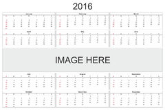 Calendar for 2016 on White Background Stock Photography