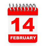 Calendar on white background. 14 February. Stock Photo
