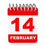 Calendar on white background. 14 February. Stock Photo