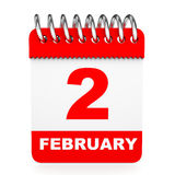 Calendar on white background. 2 February. Stock Photography