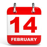 Calendar on white background. 14 February. Royalty Free Stock Photo