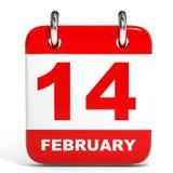 Calendar on white background. 14 February. Royalty Free Stock Photo