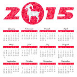 Calendar. For 2015 on white background with Goat - symbol of the year Stock Image