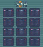 Calendar for 2016 on White Background. Royalty Free Stock Photography