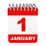 Calendar on white background. 1 January. 3D illustration stock illustration