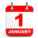 Calendar on white background. 1 January. Stock Photography