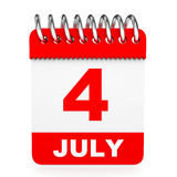Calendar on white background. 4 July. 3D illustration Stock Photography