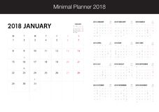 Calendar for 2018 on White Background for organization and busin. Ess. Week Starts Monday. Minimal Planner with eclipse notification with note and copy space Stock Images