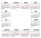 Calendar for 2018 on the white background with place for text Royalty Free Stock Image