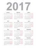 Calendar for 2017. Stock Image
