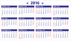 Calendar of 2016. On White Background starts from Sunday Royalty Free Stock Image