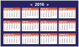 Calendar of 2016. On White Background starts from Sunday Stock Photography