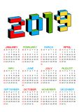 2019 calendar on a white background in style of old 8-bit video games. Week starts from Sunday. Vibrant colorful 3D. Pixel Letters. Retro arcade, computer vector illustration