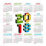2018 calendar on a white background in style of old 8-bit video games. Week starts from Sunday. Vibrant colorful 3D Royalty Free Stock Photos