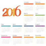 Calendar for 2016 on white background. Vector. EPS10 Stock Illustration