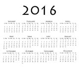 Calendar for 2016 on white background. Vector EPS10 Royalty Free Illustration