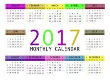Calendar for 2017 vector illustration