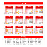 Calendar for 2017 on white background. Vector EPS10. Stock Photography