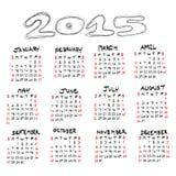 Calendar for 2015 on white background. Vector EPS10. Stock Photo