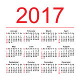 Calendar for 2017 on white background. Vector EPS8 Stock Photos
