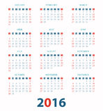 Calendar for 2016 on White Background. Vector illustration Stock Illustration
