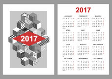 Calendar 2017 on white background. Stock Photography