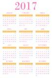 Calendar for 2017 Stock Photo