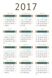 Calendar for 2017. On white background vertical Royalty Free Stock Images