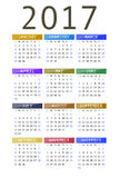 Calendar for 2017. On white background vertical Royalty Free Stock Photos
