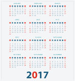 Calendar for 2017 on White Background. Calendar for 2017 on White Background, week start on sunday, vector illustration Stock Photography