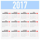 Calendar for 2017 on White Background. Week Starts Monday. Simple Vector Template Royalty Free Stock Photos