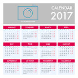 Calendar for 2017 on White Background. Week Starts Monday. Simple Vector Template Royalty Free Stock Images
