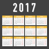 Calendar for 2017 on White Background. Week Starts Monday. Simple Vector Template Stock Photography
