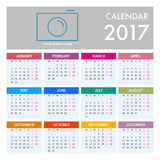 Calendar for 2017 on White Background. Week Starts Monday. Simple Vector Template Stock Images